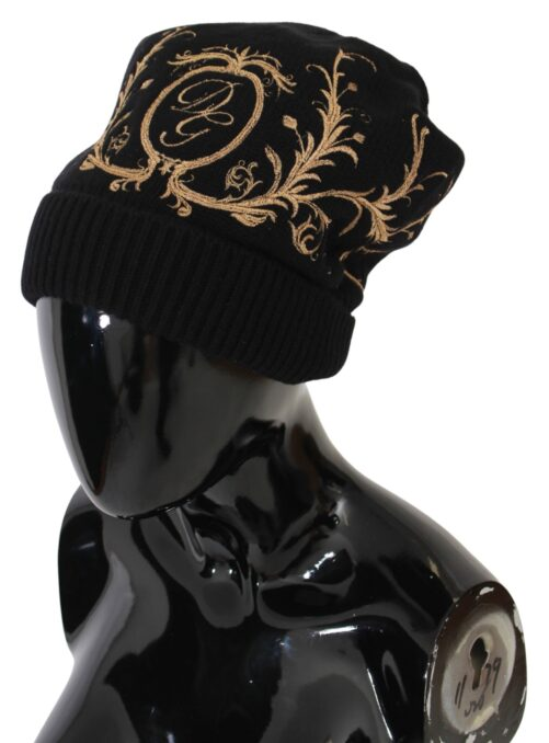 Black DG Knitted Beanie Cashmere Hat, Fashion Brands Outlet