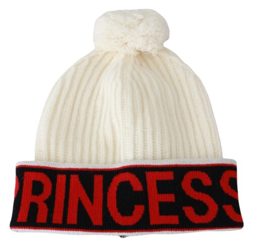 White Princess Winter Beanie Virgin Wool Hat, Fashion Brands Outlet