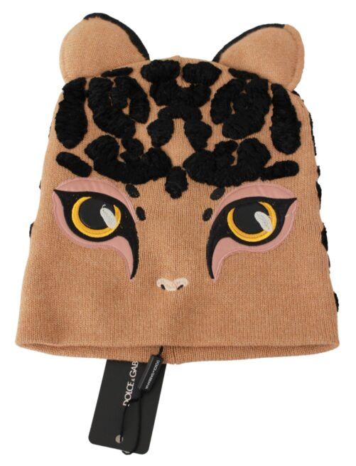 Brown Cats Eye Embroidered Beanie Cashmere Hat, Fashion Brands Outlet