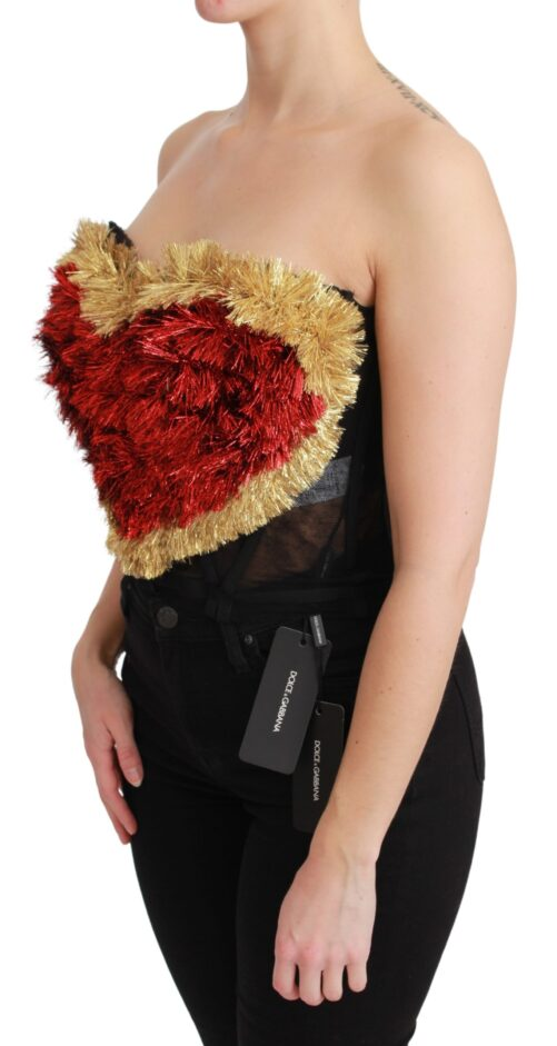 Red Gold Heart Bustier Corset Blouse Top, Fashion Brands Outlet