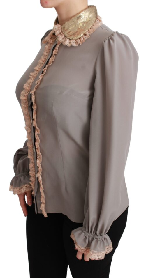 Gray Silk Gold Sequin Lace Blouse Shirt, Fashion Brands Outlet