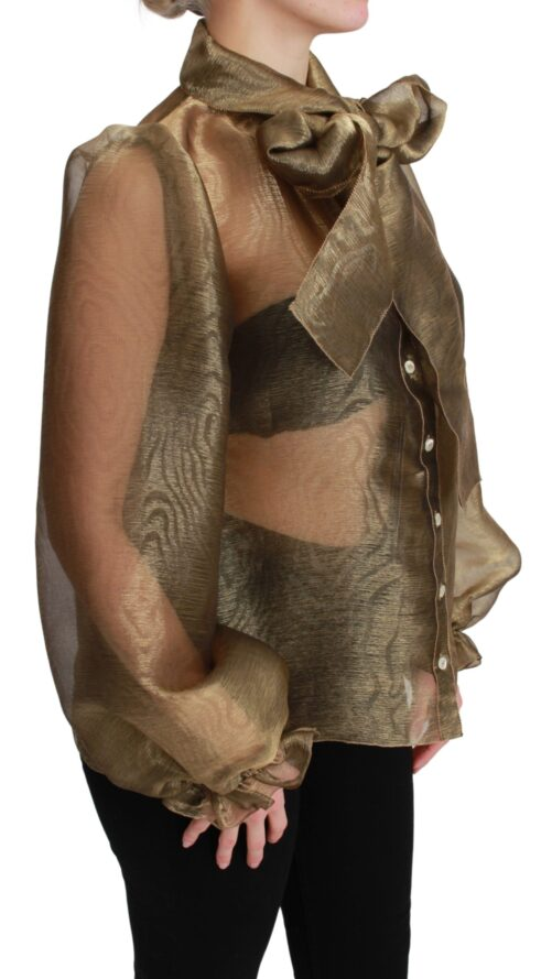 Gold Bow Collar Sheer Shirt Blouse Top, Fashion Brands Outlet