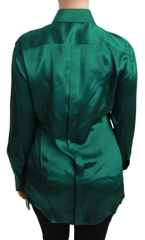 Green Collared Blouse Shirt 100% Silk Top, Fashion Brands Outlet
