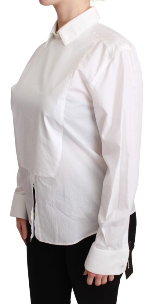 White Collared Blouse Cotton Top Shirt, Fashion Brands Outlet