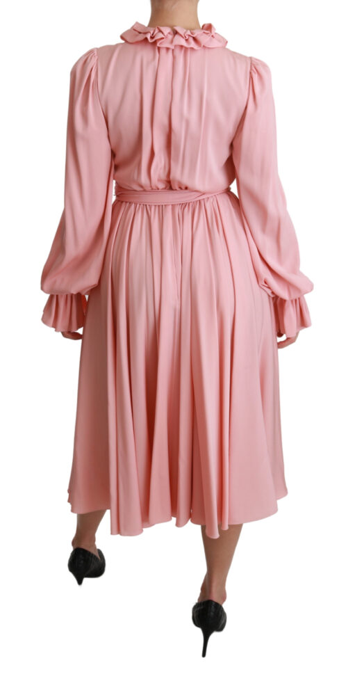 Silk Stretch Pink Pleated A-line Midi Dress, Fashion Brands Outlet