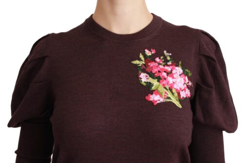 Maroon Floral Wool Pullover Sweater, Fashion Brands Outlet
