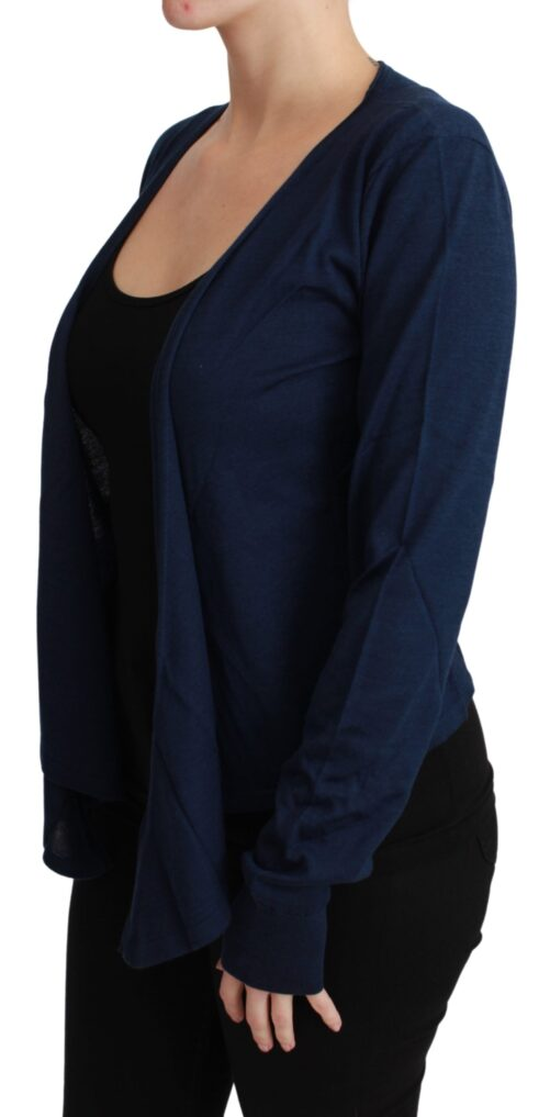 Navy Blue Solid Cardigan Cashmere Sweater, Fashion Brands Outlet