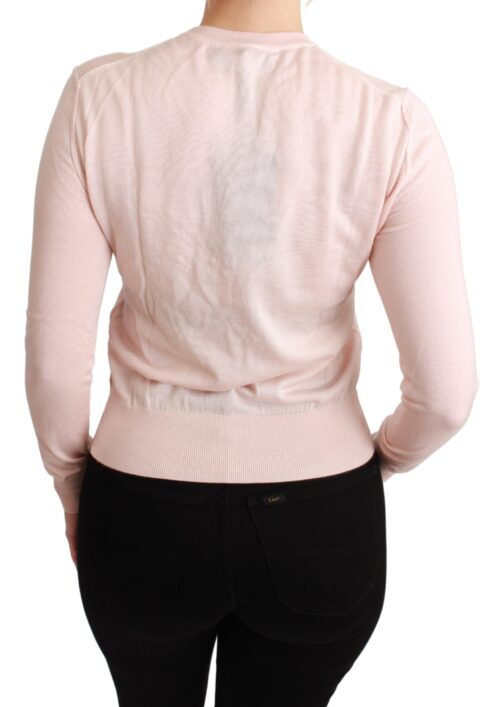 Pink Floral Silk Cashmere Pullover Sweater, Fashion Brands Outlet