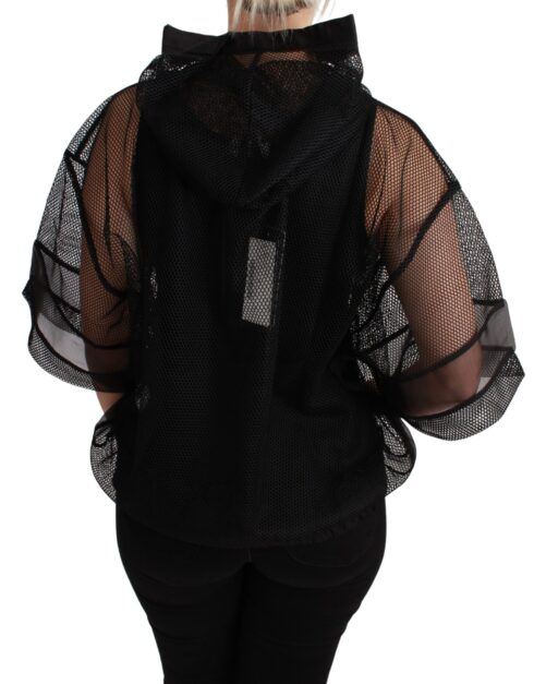 Black Sheer Nero Sicilia Hooded Blouse T-shirt, Fashion Brands Outlet
