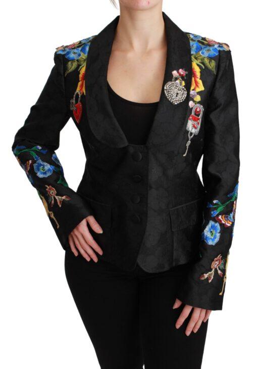 Black Brocade Crystal Blazer Jacket, Fashion Brands Outlet