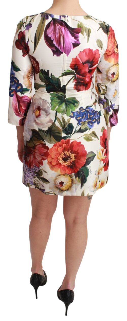 White Floral 3/4 Sleeves Sheath Mini Dress, Fashion Brands Outlet