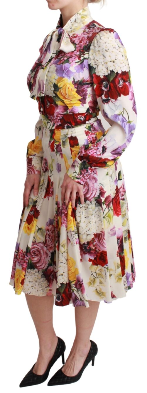 White Floral Pleated A-line Midi Silk Dress, Fashion Brands Outlet