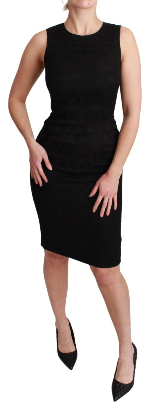 Black Sleeveless Bodycon Knee Length Dress, Fashion Brands Outlet