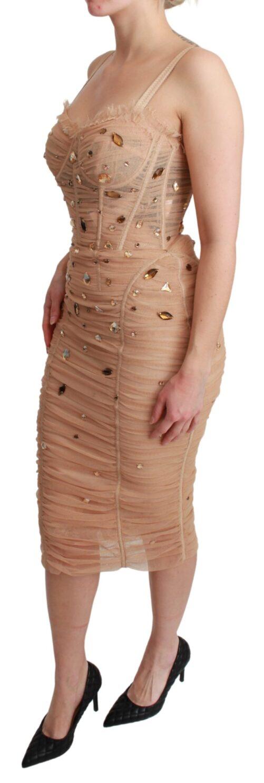 Beige Crystal Studs Bodycon Midi Stretch Dress, Fashion Brands Outlet