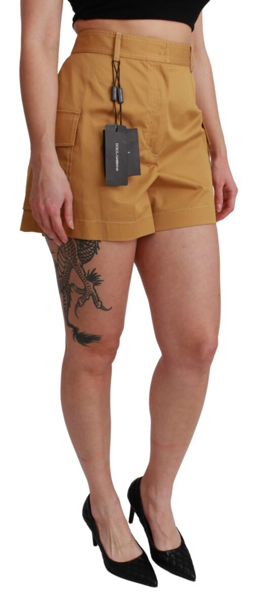 Brown High Waist Cotton Stretch Shorts, Fashion Brands Outlet