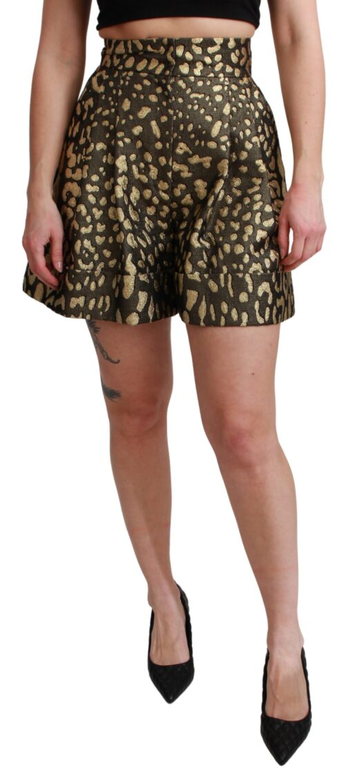 Black Gold High Waist Mini Cotton Shorts, Fashion Brands Outlet