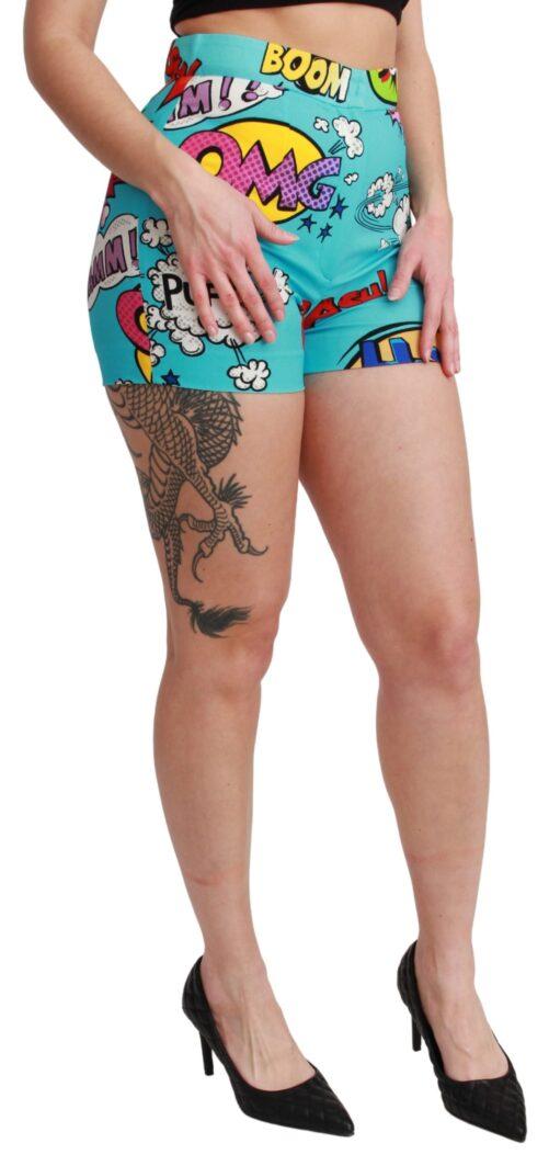 Blue Cartoon Print High Waist Mini Shorts, Fashion Brands Outlet