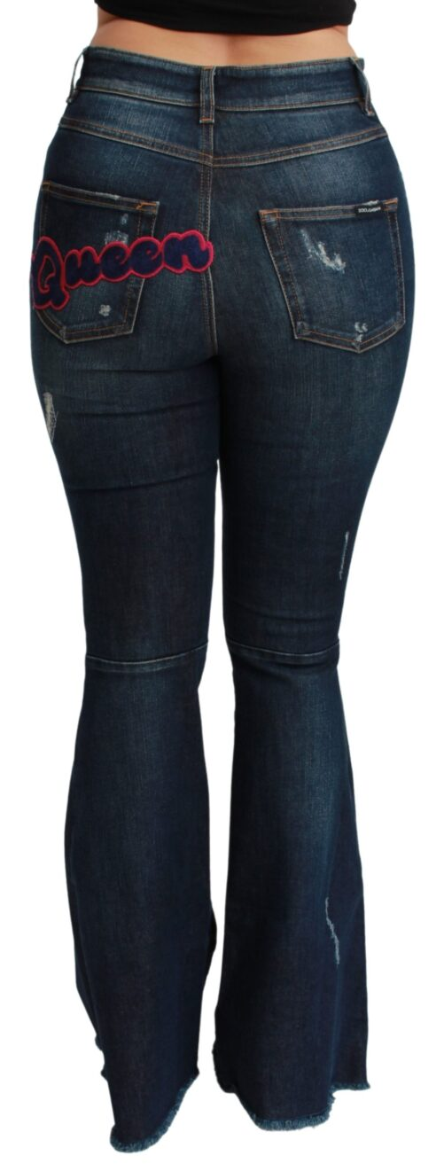 Blue Denim Cotton Stretch Flared Jeans, Fashion Brands Outlet