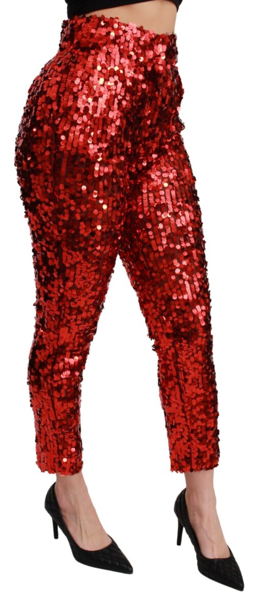 Red Sequined Cropped Trousers Pants, Fashion Brands Outlet