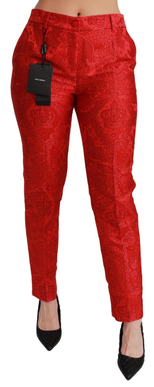 Red Jacquard Crown Dress Slim Pants, Fashion Brands Outlet