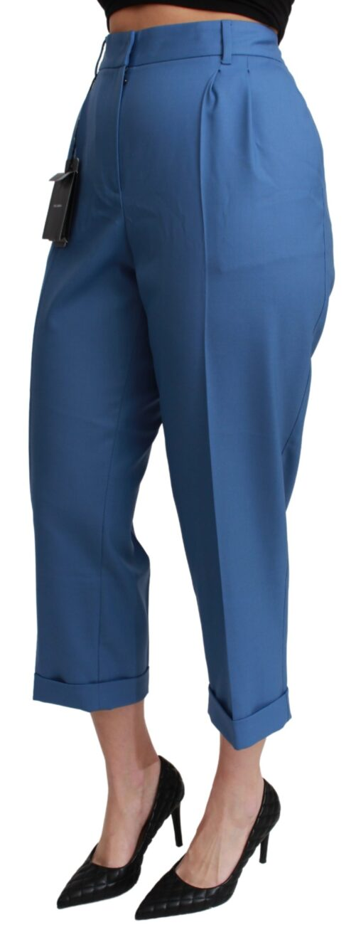 Blue Pleated Wool Cuffed Cropped Trouser Pants, Fashion Brands Outlet