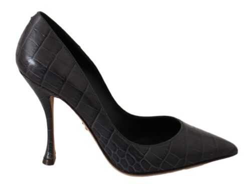 Gray Leather Heels Pumps Heels Shoes, Fashion Brands Outlet