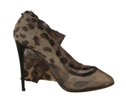 Brown Leopard Tulle Long Socks Pumps Shoes, Fashion Brands Outlet